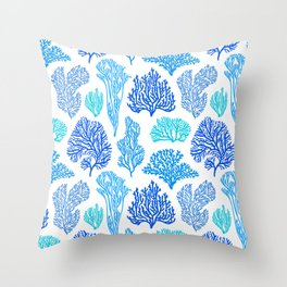 Coral Mania Pattern (blue) Throw Pillow
