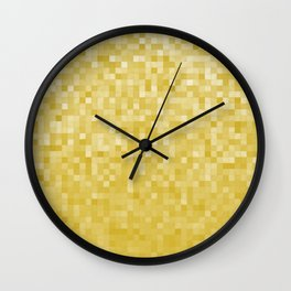 Pixels Gradient Pattern in Yellow Wall Clock