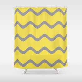 Soft Rippled Horizontal Line Pattern V2 Pantone 2021 Color Of The Year Illuminating Ultimate Gray Shower Curtain