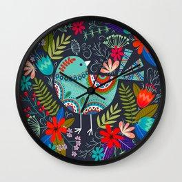mandala flower birds Wall Clock
