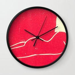 Bathing Girl in Pink Wall Clock