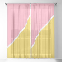 Pink and Yellow Abstract Sheer Curtain