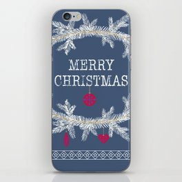 Merry christmas and happy new year greeting card wreath background iPhone Skin