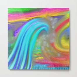 Thick Paint Wave Metal Print