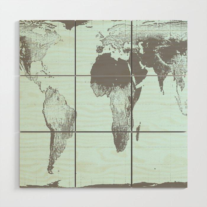 World Map : Gall Peters Aqua Wood Wall Art by vintageby2sweet