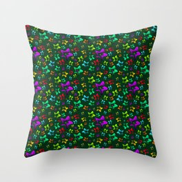 Pattern of cheerful children's shimmering stars on a green background. Throw Pillow