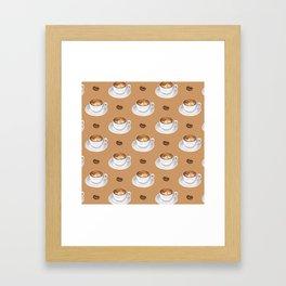 Coffee Cups - tan Framed Art Print