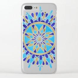 Royal Blue Mandala Clear iPhone Case