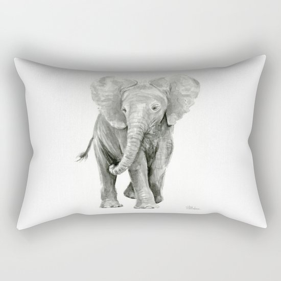 Baby Elephant Watercolor Rectangular Pillow