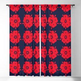 Japanese Samurai flower red pattern Blackout Curtain