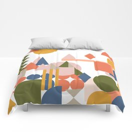 Folksy Geometric Abstract Landscape Comforters