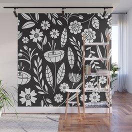Blooming Field - black Wall Mural