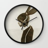 rabbit Wall Clocks featuring Rabbit by Ruben Ireland