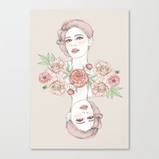 Woman with flowers and beetles Canvas Print