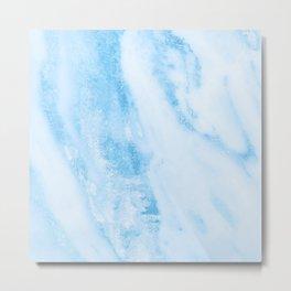 Shimmery Blue Clouds Marble Metallic Metal Print