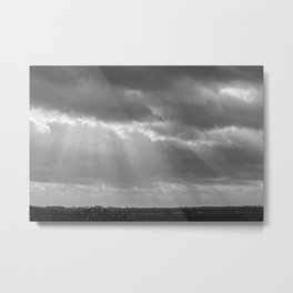 A little ray of light in Black and White Metal Print
