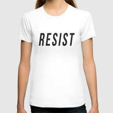RESIST 1.0 - Black on Teal #resistance LARGE White Womens Fitted Tee