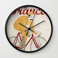 tour de france Wall Clocks featuring tour de france by cikuta