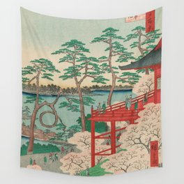 Spring Blossoms and Pond Ukiyo-e Japanese Art Wall Tapestry