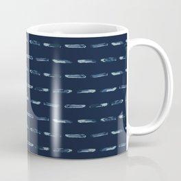 Hand Drawn Stripe Indigo Dotty Grunge Coffee Mug