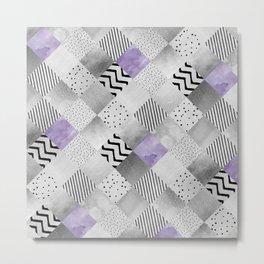 GRAPHIC PATTERN Sparkling Patchwork | purple&silver Metal Print