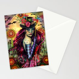 Sugar Skull Girl Fantasy Halloween Art Stationery Cards