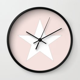 White star on pale pink Wall Clock