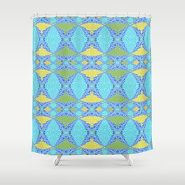 Mid century modern inspired geometric quilt print Shower Curtain