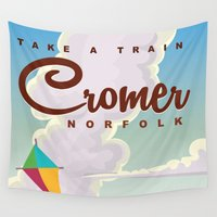 travel poster Wall Tapestries featuring Cromer Vintage beach travel poster by Nick's Emporium Gallery