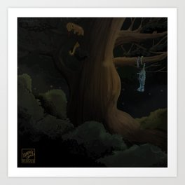 2 Cameleon chilling in a tree, 6 feet apart because it's the law Art Print
