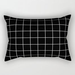 Grid Line Stripe Black and White Minimalist Geometric Rectangular Pillow