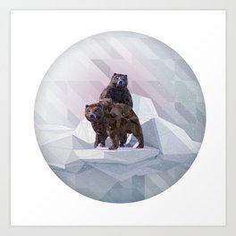 WINTER LOW POLY BEARS Art Print