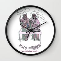 patriarchy Wall Clocks featuring Disco of Patriarchy by Olivia Ekelund