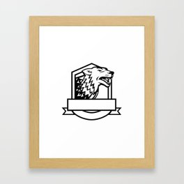 Wolf Growling Crest Retro Framed Art Print