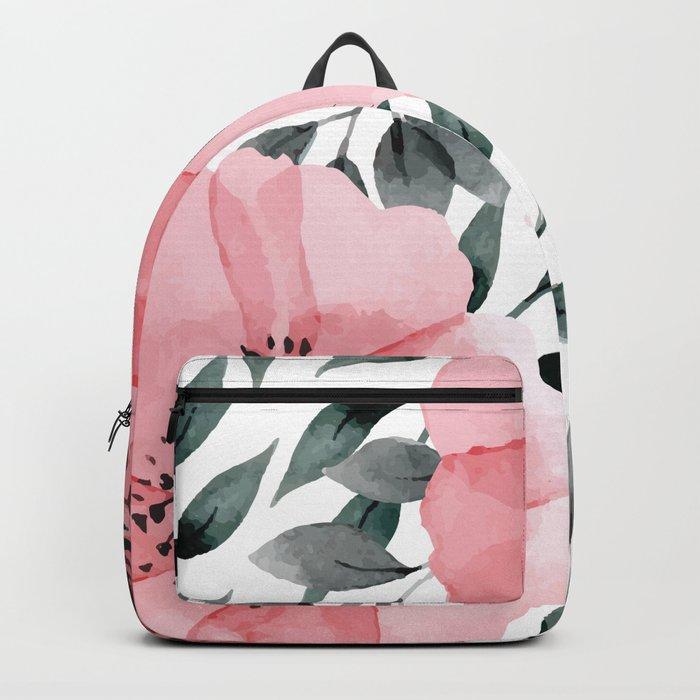 Big Watercolor Flowers Backpack