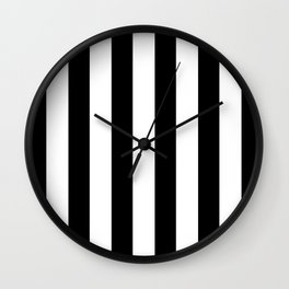 Simply Vertical Stripes in Midnight Black Wall Clock