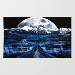 Road to Eternity (blue vintage moon mountain) Rug
