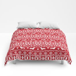 Dachshund fair isle christmas dog breed gifts for dog lover pet art cute holiday doxie dogs Comforters