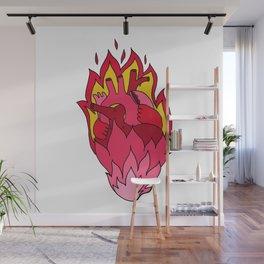 flaming love heart pink heart flames Wall Mural