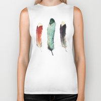 black Biker Tanks featuring Feathers by Amy Hamilton