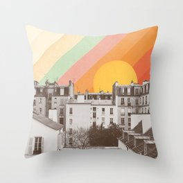 Rainbow Sky Above Paris Throw Pillow
