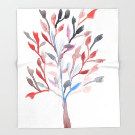 Watercolour Tree 6 |Modern Watercolor Art | Abstract Watercolors Throw Blanket