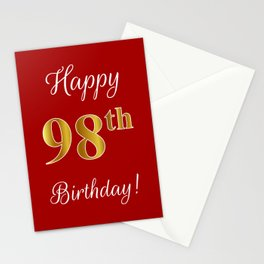 """Elegant """"Happy 98th Birthday!"""" With Faux/Imitation Gold-Inspired Color Pattern Number (on Red) Stationery Cards"""