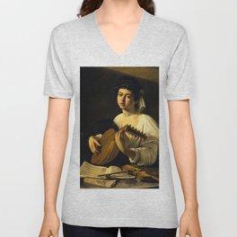 """Michelangelo Merisi da Caravaggio """"The Lute Player"""" Unisex V-Neck"""
