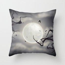 Nighttime Moon Throw Pillow
