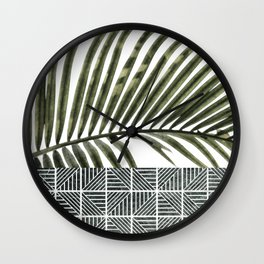 Palm Leaves on White Wall and Ceramic Tiles Wall Clock