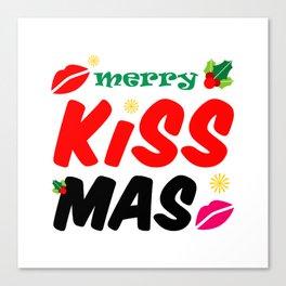 Retro Merry Kissmas Holiday Canvas Print