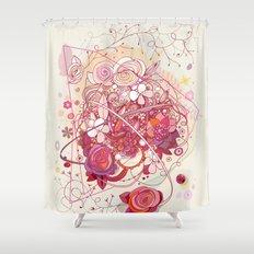 Floral universe orbit Shower Curtain