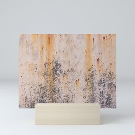 Abstract textures in old metal Mini Art Print