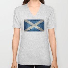 Scottish Flag - Vintage Retro Style Unisex V-Neck